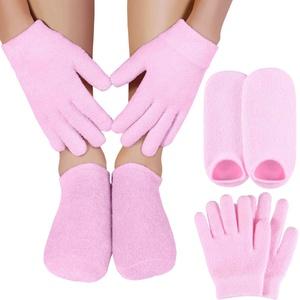 TOOGOO Feuchtigkeits Spendende Gel Socken Handschuhe Set H?Nde Fü?E Haut Bleaching Pflege Sch?Nheit Spa Behandlung Feuchtigkeits Spendende KüHle Weiche Baumwolle Ferse Booties Socken