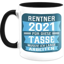 Shirtracer Tasse Rentner 2021 - blau - Rentner Geschenk Tasse - Tasse zweifarbig, Keramik