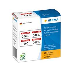 2x1.000 HERMA Klebenummern 4832 nummeriert von 0-999