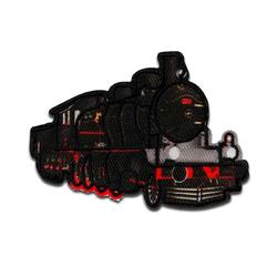 Mono-Quick Aufnäher, Polyester, Lokomotive Zug Eisenbahn - Aufnäher, Bügelbild, Aufbügler, Applikationen, Patches, Flicken, zum aufbügeln, Größe: 7 x 4,8 cm schwarz