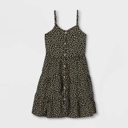 Girls' Button-Front Tiered Baby Doll Sleeveless Dress - art class Black XS