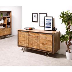 DELIFE Designer-Sideboard Stonegrace 147 cm acacia natuur 3 laden, Ladekasten & kasten