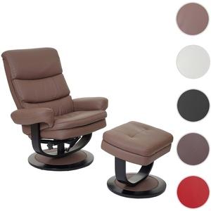 Relaxsessel HWC-C16, Fernsehsessel TV-Sessel Hocker mit Staufach, Kunstleder ~ chocolate