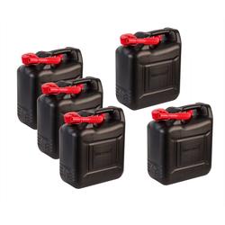 BigDean Kanister 5x 10 Liter Benzinkanister Kunststoff - Schwarz, rot - Reservekanister Dieselkanister 10l