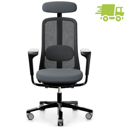HAG SoFi Mesh 7500 Bürostuhl schwarz mit Nackenstütze - Stoff Select grau