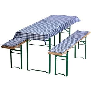 PROHEIM Bierbankauflagen-Set 3-teilig in blau: 1 Tischdecke 130 x 70 cm + 2 gepolsterte Bierbankauflagen 110 x 25 cm