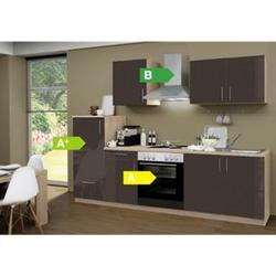 Menke Küchen Küchenzeile Premium Lack 270 cm Lava - 4 Platten Kochfeld