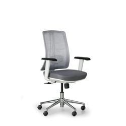 Bürostuhl human, weiß/grau, stahlkreuz
