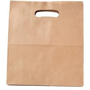 Kraft Papier Tragetaschen mit Henkel, Braun, Umweltfreundliches Papier, Sicherheitskleber, 22 x 11 x 28 cm, 70 gr, 50 Stück