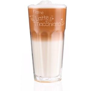Herz & Heim® Latte Macchiato Glas mit Gratis Gravur des Namens