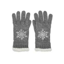 Caspar Strickhandschuhe GLV009 warm gefütterte Damen Strick Handschuhe mit eingesticktem Eiskristall grau