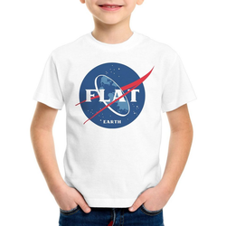 style3 Print-Shirt Kinder T-Shirt Flat Earth fernrohr weltraum astronomie weiß 140