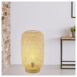 etc-shop Stehlampe, Stehleuchte Bambus Rattan Stehlampe Bambus Lampe natur, Stylisch, 1x 6 Watt 1x 810 Lumen warmweiß, LxBxH 27,5x21,5x29 cm, Wohnzimmer