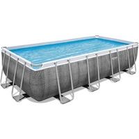 BESTWAY Power Steel Frame Pool Set 549 x 274 x 122 cm inkl. Filterpumpe grau Rattanoptik