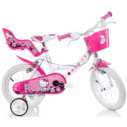 Hello Kitty Kinderfahrrad Hello Kitty, mit Lenkerkorb + Puppensitz 25 cm