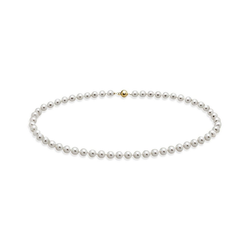 goldmaid Collier Perle 585/- Gelbgold 56 Süßwasserperlen weiß