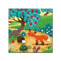 Bilderdepot24 Leinwandbild, Leinwandbild - Kinderbild - Tiere im Wald 60 cm x 60 cm