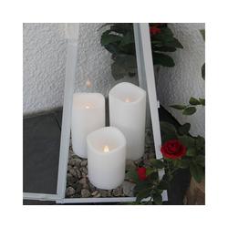 STAR TRADING LED-Kerze LED outdoor Kerze - flackernde LED - H: 7,5cm - Batteriebetrieb - Timer - weiß