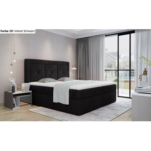 Boxspringbett mit 2 Bettkasten INES 160x200 weiß beige grau schwarz Auswahl
