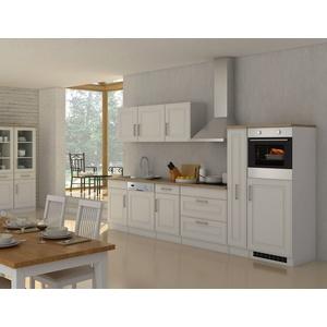 Küchenzeile mit Elektrogeräten Einbauküche mit Geräten Küchenblock 330 cm weiss
