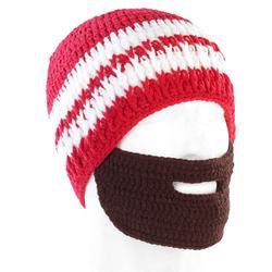 Lustige Mütze mit Bart, rot-weiß