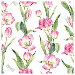 Linoows Papierserviette 20 Servietten, Frühling, Ketten farbiger Tulpen, Motiv Frühling, Tulpenketten