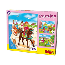 Haba Puzzle Puzzleset 3 x 24 Teile - Pferdefreundinnen, Puzzleteile