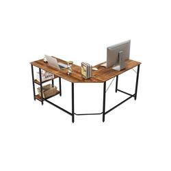 COSTWAY Schreibtisch Homeoffice-Schreibtisch, Computer-Eckschreibtisch, 137 cm L-förmiger Schreibtisch, mit 2 Ablageflächen, platzsparend