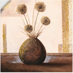 Artland Wandbild Goldene Vasen II, Vasen & Töpfe (1 Stück) 100 cm x 100 cm