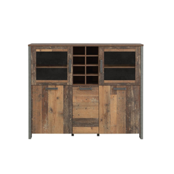 Forte Highboard Clif in Old Wood Vintage-Optik