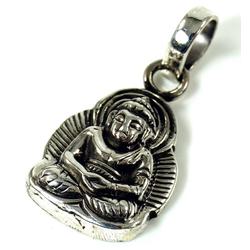 Guru-Shop Kettenanhänger Silber Anhänger Buddha Talisman - Modell 1