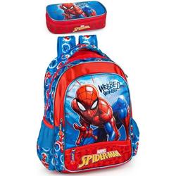 Spiderman Kinderrucksack Marvel Spiderman - Rucksack und Federmäppchen (Reißverschluss, Jungen), Tragegurte