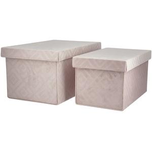 Basispreis* Aufbewahrungsboxen, 2er-Set ¦ rosa/pink ¦ Pappe, Samt