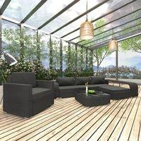 vidaXL Polyrattan Loungeset mit Auflagen 8-tlg. schwarz 46825