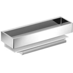 KEUCO Duschkorb aus Metall, silber und hochglanz-verchromt, inkl. Glas-Wischer, weiß, 9,5x30x8,2cm, Wandmontage in der Dusche, Duschablage Edition 11