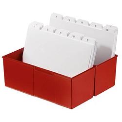 HAN   Karteikasten DIN A5   für 450 Karteikarten rot mit Deckel