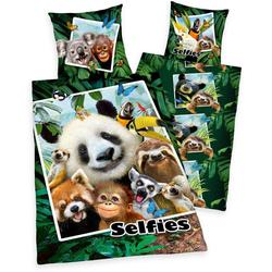 Kinderbettwäsche Selfies Dschungeltiere, mit tollem Dschungeltier-Motiv