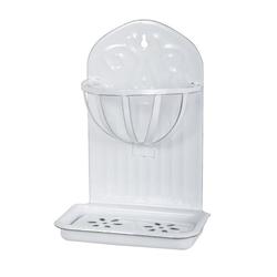 Ib Laursen Seifenschale Wandseifenschale Seifenschale mit Korb für Wand Emaille Weiß Laursen 0428-11