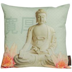 beties Kissenhülle Buddha, Kissenbezug ca. 40x40 cm Digitaldruck aus 100% Baumwolle grün