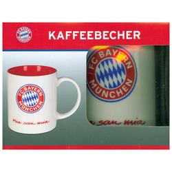 FCB Kaffeebecher Mia san Mia 350ml weiß/rot