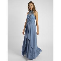 Apart Abendkleid nahezu rückenfrei, mit Trägern aus Spitze blau 40
