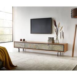 DELIFE TV-Board Juwelo, 200x35x40 cm Akazie Natur Stein 4 Türen 200 cm x 40 cm x 34 cm