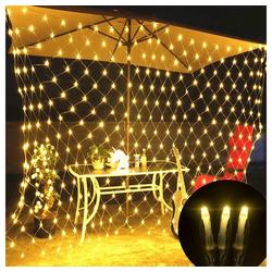 TOPMELON Lichterkette, LED Net Mesh Lichterkette, Wasserdicht, 4 Größen,Weihnachtsdekoration weiß 4 cm x 6 m