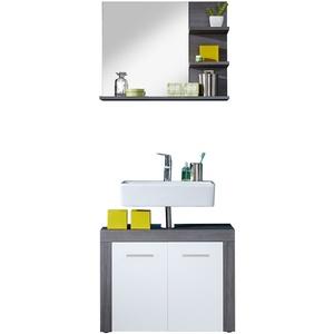 trendteam smart living Badezimmer 2-teilige Set Kombination Miami, 72 x 174 x 34 cm in Korpus Rauchsilber Dekor, Front Weiß mit viel Stauraum