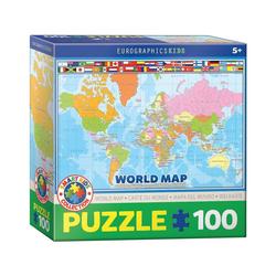 EUROGRAPHICS Puzzle Eurographics 6100-1271 Weltkarte 100 Teile Puzzle, Puzzleteile bunt