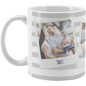 Herz & Heim® Moderne Fototasse mit deinen eigenen Fotos im Polaroid Style und Wunschtextaufdruck