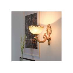 Licht-Erlebnisse Wandleuchte OLIMPIA Wandleuchte Messing glänzend Zink Glas Jugendstil Lampe