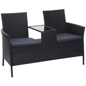 MCW Gartenbank MCW-E24, Poly-Rattan, Maximale Belastbarkeit pro Sitzplatz: 120 kg, Mit Armlehnen, Bezüge mit Reißverschluss, wasserabweisend, Neigt nicht zum grau