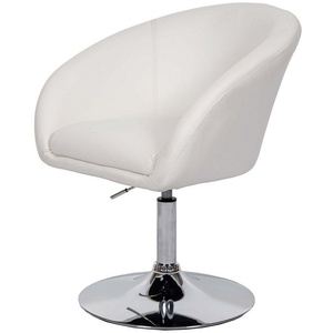 MCW Esszimmerstuhl MCW-F19, Abgerundete Sitz- und Rückenfläche, um 360° drehbar, höhenverstellbare Sitzfläche weiß