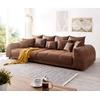 DeLife DELIFE Big-Sofa Violetta, Braun 310x135 cm Antik Optik inklusive Kissen Big-Sofa braun